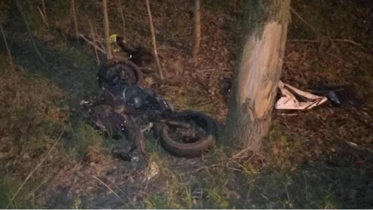 Юный мотоциклист разбился о дерево