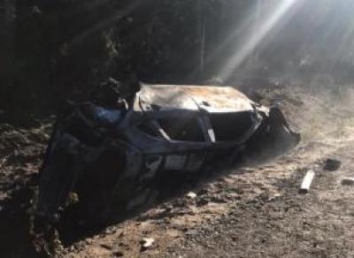 Водитель сгорел в машине после ДТП