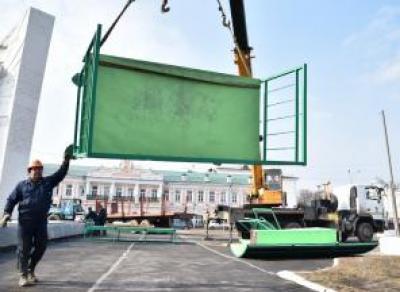В центре Вологды установили рампу для скейтбординга