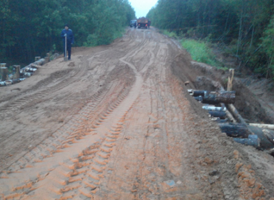 Размытый дождями участок дороги Аниково–Кунож в Бабушкинском районе восстановили