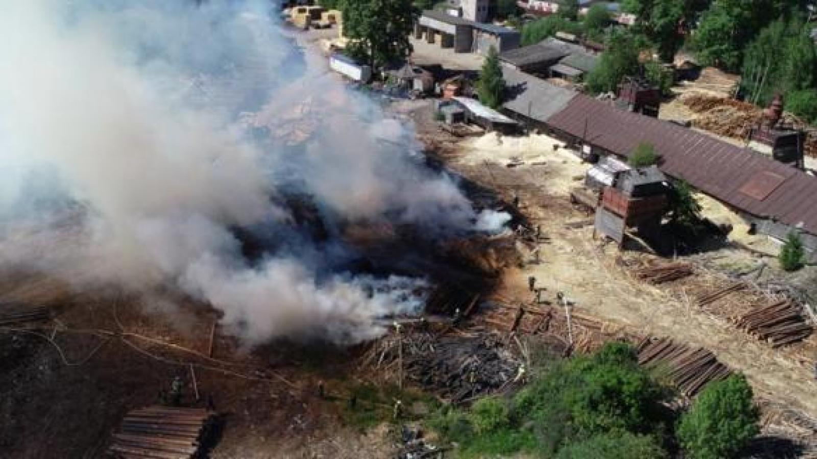 Пилорама сгорела в Вологде
