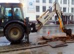 Ведется ремонт остановки напротив Областной библиотеки в Вологде